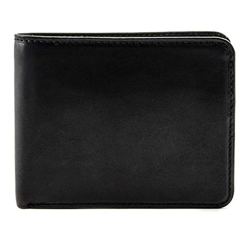 Tony Perotti Mens Italian Cow Leather Classic Bifold Wallet with ID Window in Black