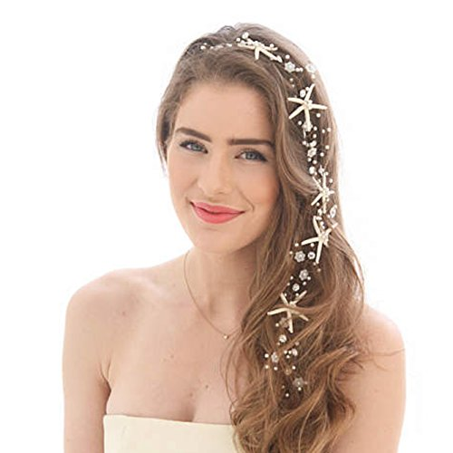 Unicra Wedding Starfish Headpiece Bridal Wedding Hair Vine Hair Accessories for Brides and Bridesmaids by Unicra