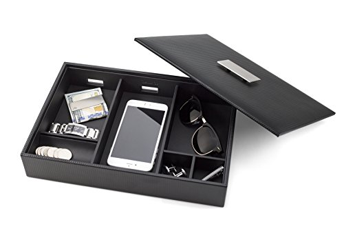 Glenor Co Mens Valet Tray / Dresser Organizer & Lid - 6 Slot Luxury Jewelry Accessories Box, Carbon Fiber Design & Metal Buckle for Men's Watches, Sunglasses, Wallet Cell phone & keys Pu Leather Black (Valet Box Gift)