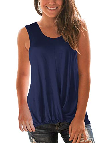 SMALNNIE Womens Tunic Blouse Twist Knot Henley Tank Tops Loose Fitting Plain T Shirts NavyBlue L