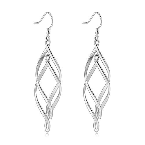 Sterling Silver Plated Jewelry Italian Design Wire Drop Hanging Celtic Knot Earrings for Women