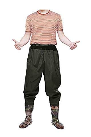 FengLiu Men's Fishing Chest Waders with Boots Waterproof Breathable Rubber Lightweight Anti-Slip Wading Overalls Pants (9)