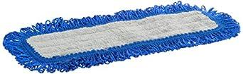 "Impact LFFD18 Fringe Hook-and-Loop Dust Mop Microfiber Pad, Velcro Back, 18"" Length, Gray/Blue (8 Bags of 12)"