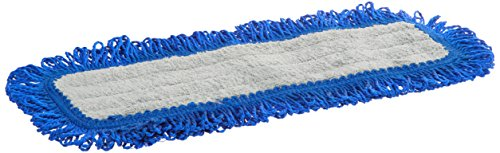 Impact LFFD18 Fringe Hook-and-Loop Dust Mop Microfiber Pad, Velcro Back, 18'' Length, Gray/Blue (8 Bags of 12) by Impact Products