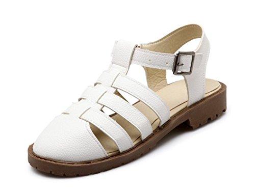 SHFANG Verano Señora Sandalias Retro Ocio Cómodo 34-43 Compras de Playa Turismo Estudiantes Tres Colores 3cm White
