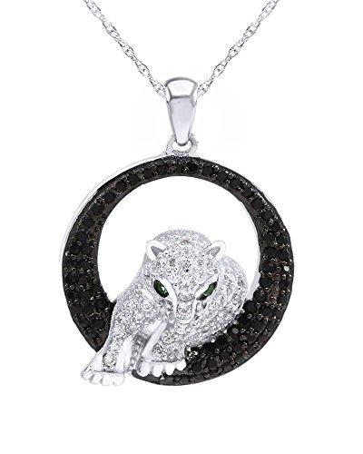 Wishrocks Sterling Silver White/Black CZ & Emerald Panther Pendant w/18 Chain -