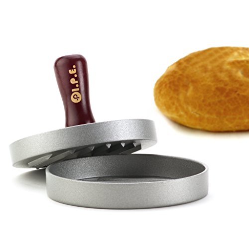 Hamburger Patty Maker and Grill Press: Large Round Burger Mold and Nonstick Pan for Perfect Patties & Stuffed Burgers, Plus Cookbook with 15 Recipes