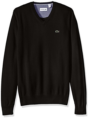 Lacoste Men's Cotton Jersey V-Neck Sweater, Black, Medium