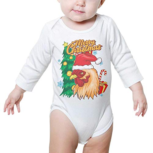 PoPBelle Merry Christmas Chicken Rooster Baby Onesie White Outfits Long Sleeve Neutral Cotton -