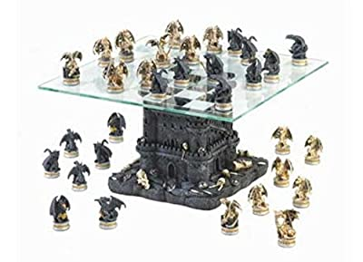 SKB Family Black Tower Dragon Chess Set home castle decor collectors