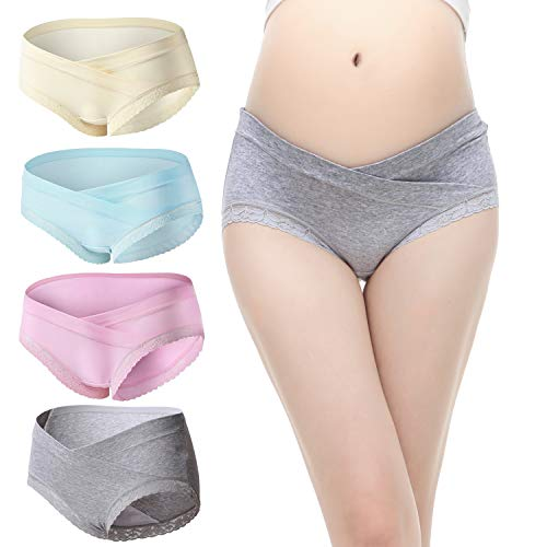 (Slimart 4 PCS Cotton Maternity Pregnant Mother Panties Lingerie Briefs Underpants Underwear (XX-Large (fits Like US Large), 4 Pack(Blue/Rose Red/Gray/Champagne Gold)))