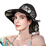 Sun Hats for Women, Summer Beach Outdoor Sun Hat with UPF 50+, Bucket Hat, Wide Brim Fashion Dress Up Cap Black