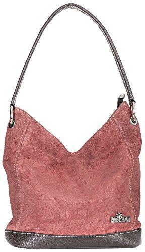 LiaTalia Womens Girls Handmade Single Handle Real Italian Suede Leather Medium Hobo Handbag Purse - Denise [Coral]