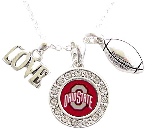 Ohio State Buckeyes Multi Charm Love Football Red Silver Necklace Jewelry OSU