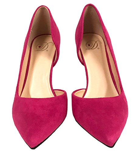 Pumps Half Dress Hot Faux D'orsay Pointy Suede Pink Classic Toe Heel Lustacious Women's High n48zW8Sf
