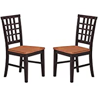 Imagio Home AR-CH-X185-BLJ-RTA Arlington Lattice Back Chair, Black and Java Finish, Set of 2