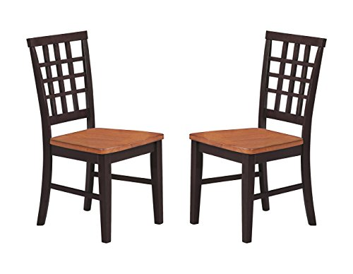 Rubbed Black Lacquer - Imagio Home AR-CH-X185-BLJ-RTA Arlington Lattice Back Chair, Black and Java Finish, Set of 2