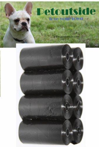 Petoutside 120 Dog Waste Poop Bags in 8 Rolls, 15 Bags in 1 Roll, Black
