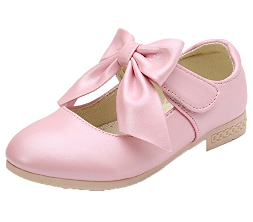 Kikiz Girls Leather Dress Ballet Mary Jane Bow Slip On Flat Shoes (Toddler/Little Kids), Pink,10 M US Toddler