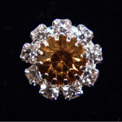#14062 Medium Rhinestone Rosette Button - Amber Center ()