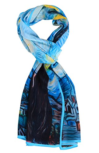 Salutto Women 100% Silk Scarves Van Gogh Starry Night Painted Scarf (1)