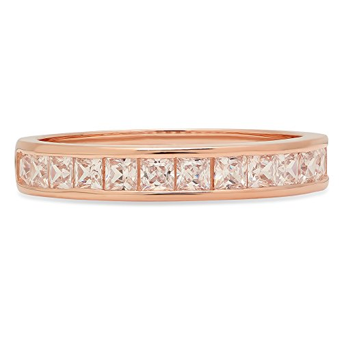 2.20 ct Brilliant Princess Cut Stacking Channel Setting Statement Classic Designer Solitaire Anniversary Engagement Wedding Bridal Promise Bands in Solid 14K Rose Gold