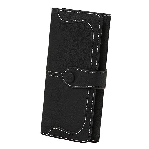 Women's Vegan Leather 17 Card Slots Card Holder Long Big Bifold Wallet,Black