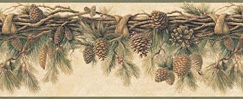 Chesapeake TLL01391B Wyola Pinecone Forest Wallpaper Border, Olive