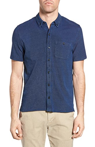 Michael Bastian Men's Short Sleeve Cotton Knit Shirt, Indigo M from Michael Bastian