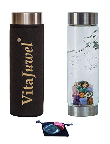 Imprints Plus Five Elements VitaJuwel ViA Gemwater Bottle with Neoprene Sleeve, 2 Worry Stones and Velvet Pouch (5 Piece Bundle) (02202)...