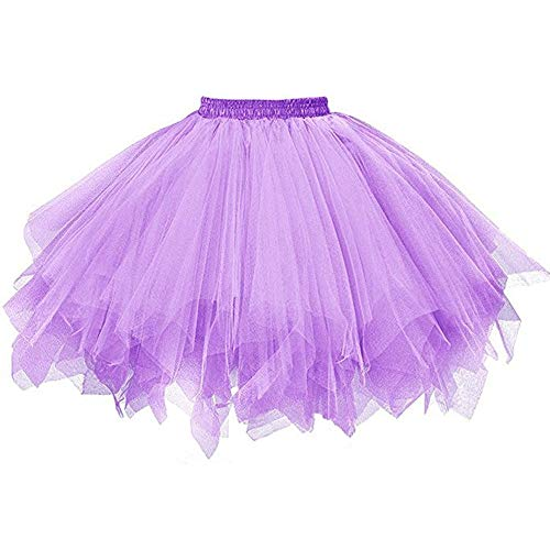 Tutu Dancing Skirts Beautyfine Womens Pleated Gauze Short Skirt for Prom Party Petticoat Beautyfine Purple