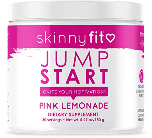 SkinnyFit Jump Start Pre Workout Supplement for Women 30 Servings – Creatine Free Powdered Mix Drink to Boost Energy, Focus, and Endurance Pink Lemonade Flavor