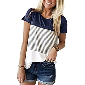 Women's Round Neck Striped Color Block T-Shirt Short Sleeve Casual Loose Tunic Blouse and Tops