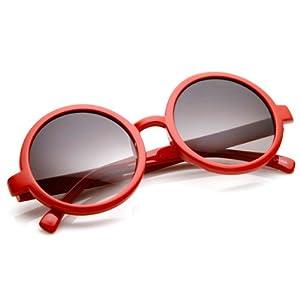 zeroUV - Classic Retro Style Shiny Plastic Round Circle Sunglasses