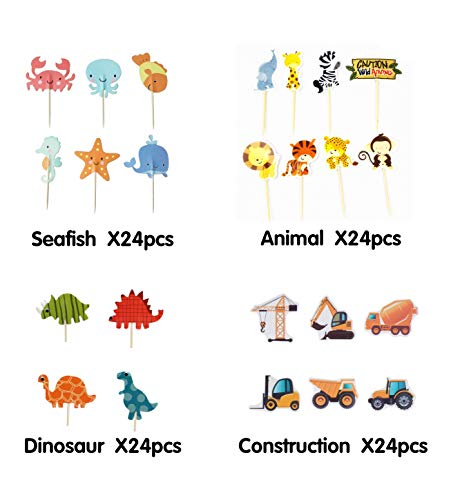 Cupcake Toppers Pack Decorations-Ocean Sea Mermaid Theme Topper-Dinosaur-Jungle Safari Zoo Animals Theme Cake Topper-Construction Truck Cake Picks- Kids Halloween Thanksgiving Birthday Cake Decor For Girls Boys Baby Shower