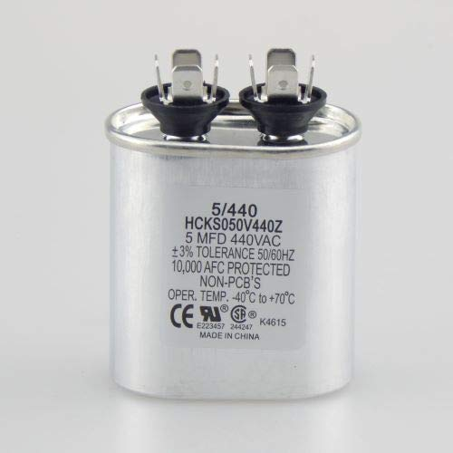 - The HVAC Genius 5 uf MFD 370 or 440 VAC Oval Run Capacitor PW-5 for Fan Motor Blower Condenser in Air Handler Straight Cool or Heat Pump Air Conditioner