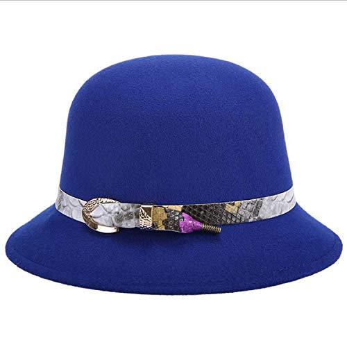 Women Winter Fedora Cloche Caps Bowler Top Hat Fashion Braid Belt Vintage Felt Wide Brim Bucket Hat,4