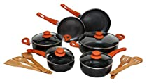 Melange Nonstick Scratch Resistant Ceramic Coating PTFE-PFOA-Cadmium-Lead Free Dishwasher Safe 15 Piece Cookware Set, Orange