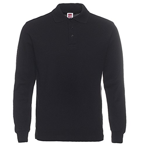 Cotton Long Sleeve Polo T-shirt (Men's Long Sleeve Casual Solid Golf Polo Shirt,black,l)