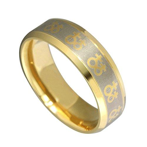 [Stainless Steel Women's Rings Gold Female Girl Symbol Lesbian Bands Width 8MM Size 8 - Adisaer] (Female Ringleader Costume)
