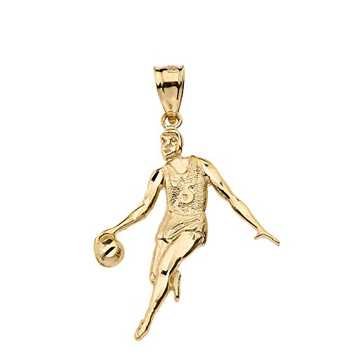 (High Polish 14k Yellow Gold Basketball Player Sports Pendant )