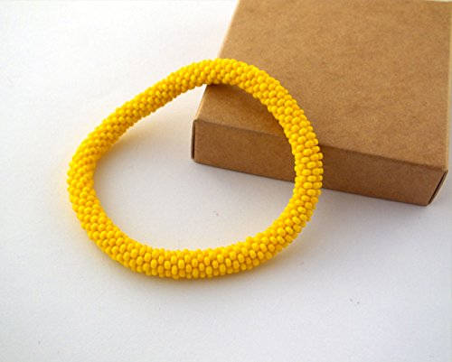 Yellow Rollen Beaded Bracelet Bangle Wristband For Womens