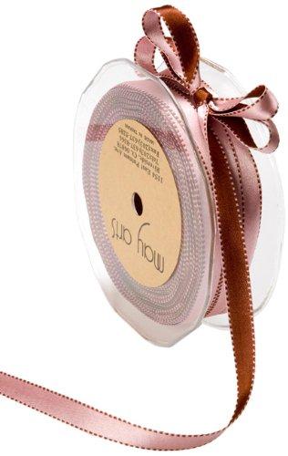 May Arts 3/16-Inch Wide Ribbon, Pink and Brown Satin (Ribbon Reversible Trim Satin)