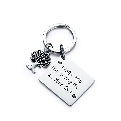 CJ&M Step Parent Keychain, Thank You for Loving Me as Your Own Step Mother Keychain, Step Mom Gift, Step Dad Gift, Step Children Gift for Dad, Mother's Day Gift,Adoption Keychain,Step Mom Keychain