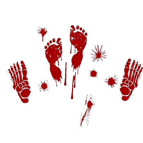 Party Diy Decorations - Bloody Hand Print Stickers Halloween Decoration Zombie Dead Party Prop Scary Prints Window Floor - Party Decorations Party Decorations Halloween Plain Table Runner Zombi