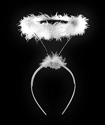 LED Light Up Angel Halo Headband for Women & Men Costume Accessories - White -