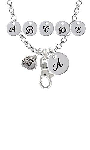 (Small Bulldog - Mascot Custom Initial Badge Clip Necklace)