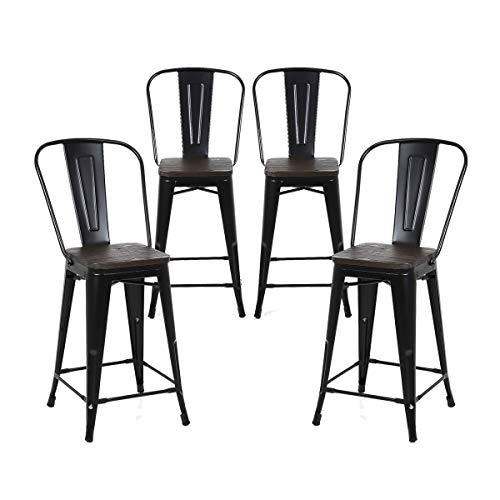 Buschman Set of 4 Matte Black Wooden Seat 24 Inches Counter Height Metal Bar Stools, High Back, Indoor/Outdoor