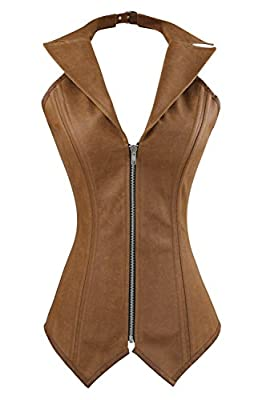 Charmian Women's Steampunk Goth Spiral Steel Boned Halter Overbust Corset Vest