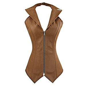 Charmian Women's Steampunk Rock Retro Halter Spiral Steel Boned Vest Corset Top